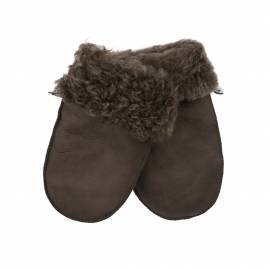 Children Shearling Mittens, Brown