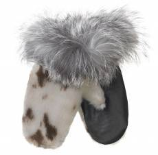 Sealskin Gloves - Natural/Leather w. Silver Fox